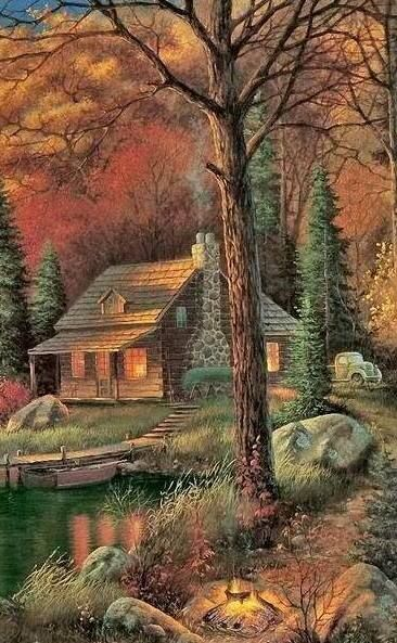Image result for painting of a log cabin with chimney smoke