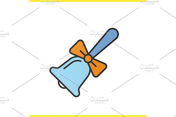 School bell with bow icon  Vector by Icons Factory on
