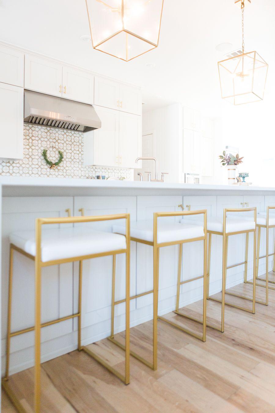 9 Affordable Gold Bar Stools for Home Design large quartz ...