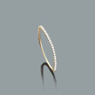Ultra Thin Stackable Diamond Ring 0 15ct 14k Gold Curved Design