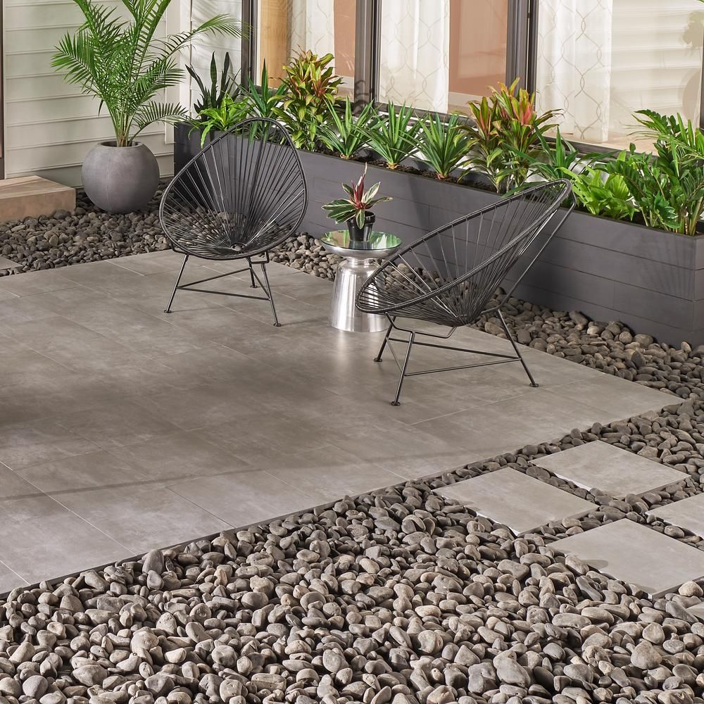 Msi Porto Anthracite 16 In X 16 In X 0 79 In Gray Porcelain Paver Tile 1 777 Sq Ft Lhdpavnporant16 The Home Depot Patio Flooring Concrete Patio Patio Stones