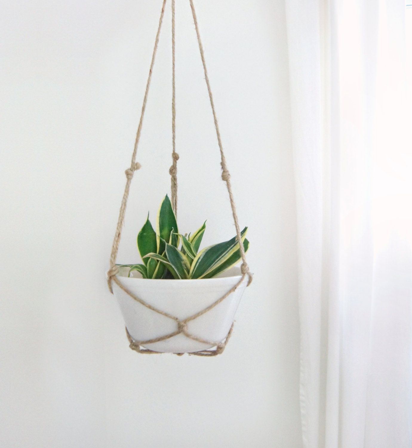 large vintage milk glass jute rope hanging planter for cactus and