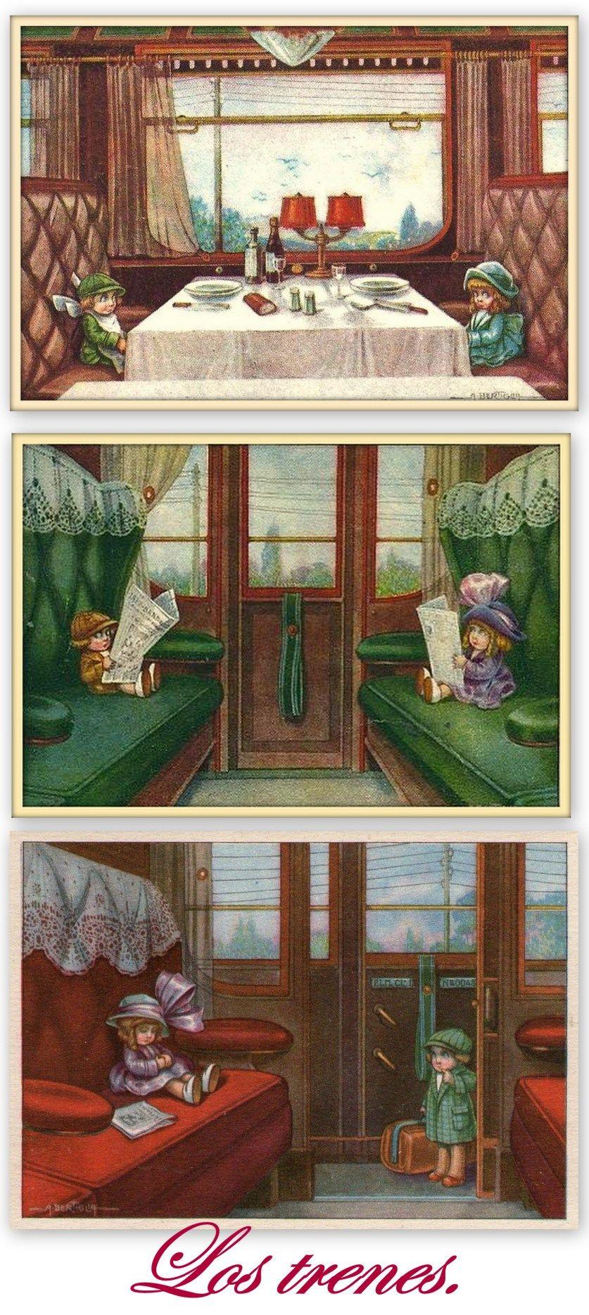Postales de trenes A. Bertiglia.