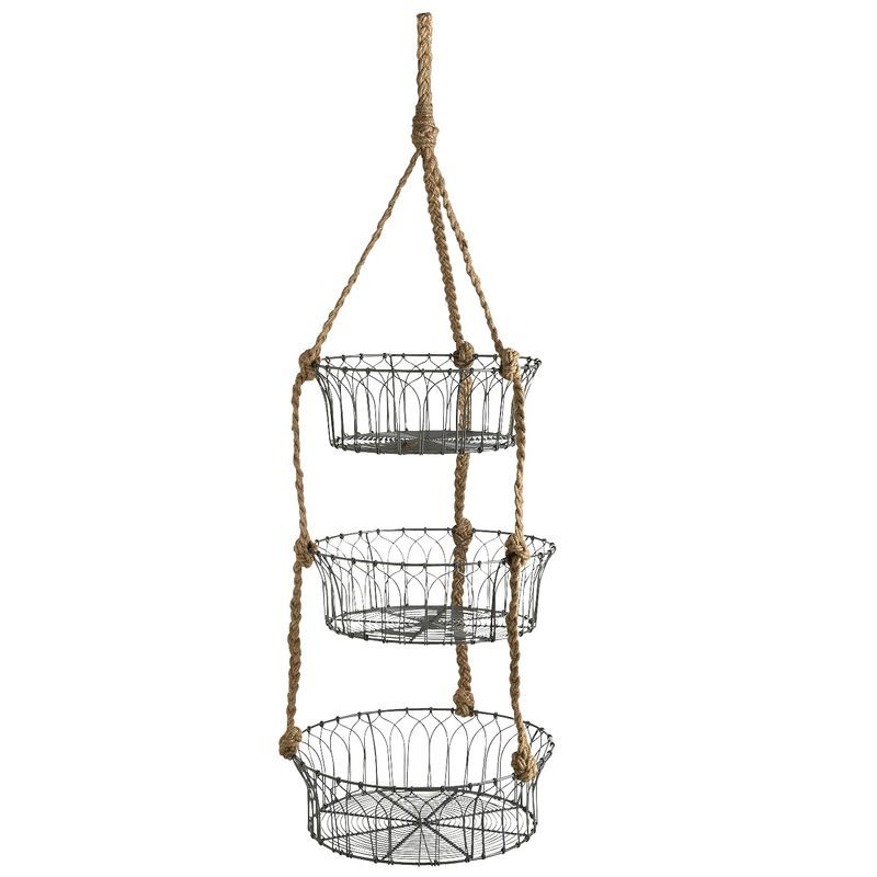 Hanging Veggie Basket With Rope Hanging Wire Basket Produce Baskets Diy Storage Containers