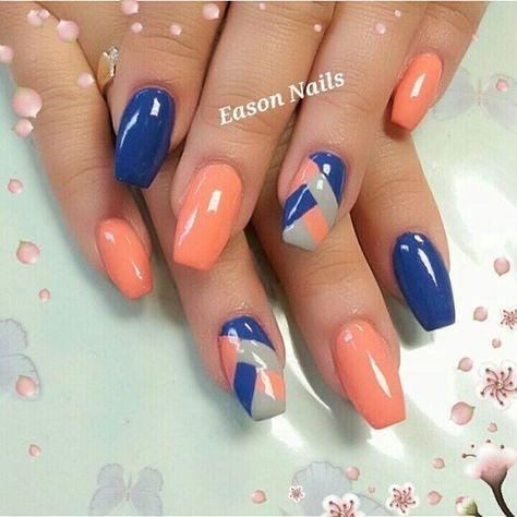 73 Peach Coral Coffin Almond Stiletto Acrylic Nail Design