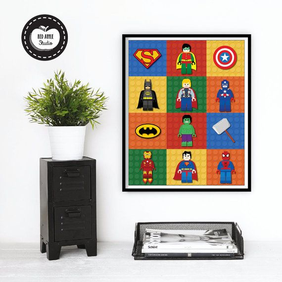 Lego Wall Art lego superhero wall art. boys room decor.redapplestudio