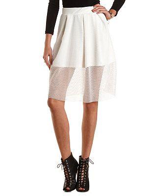 Pleated Fishnet Full Midi Skirt: Charlotte Russe