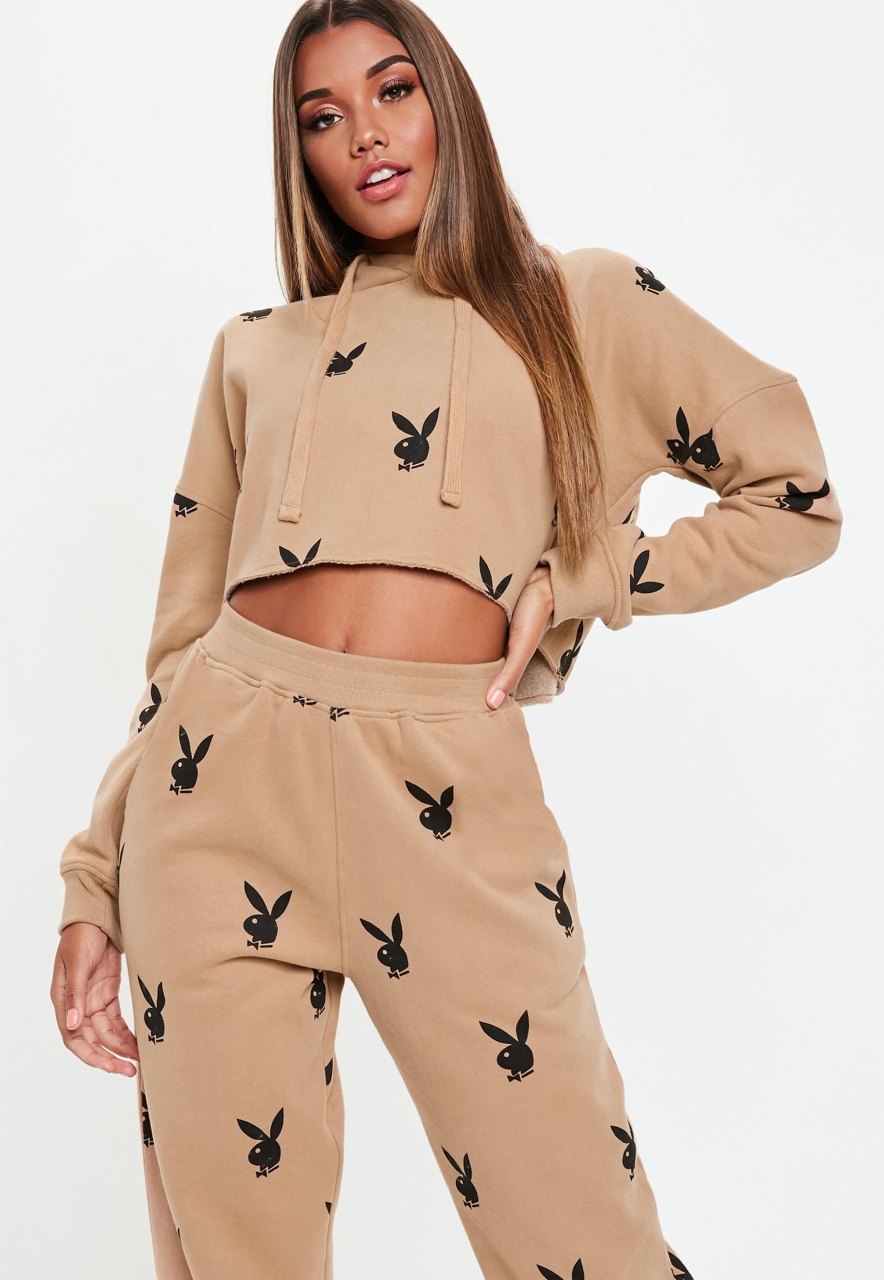 Playboy x Missguided Tan Playboy Repeat Print Cropped Hoodie in 2018 ... c1ba7c5a2