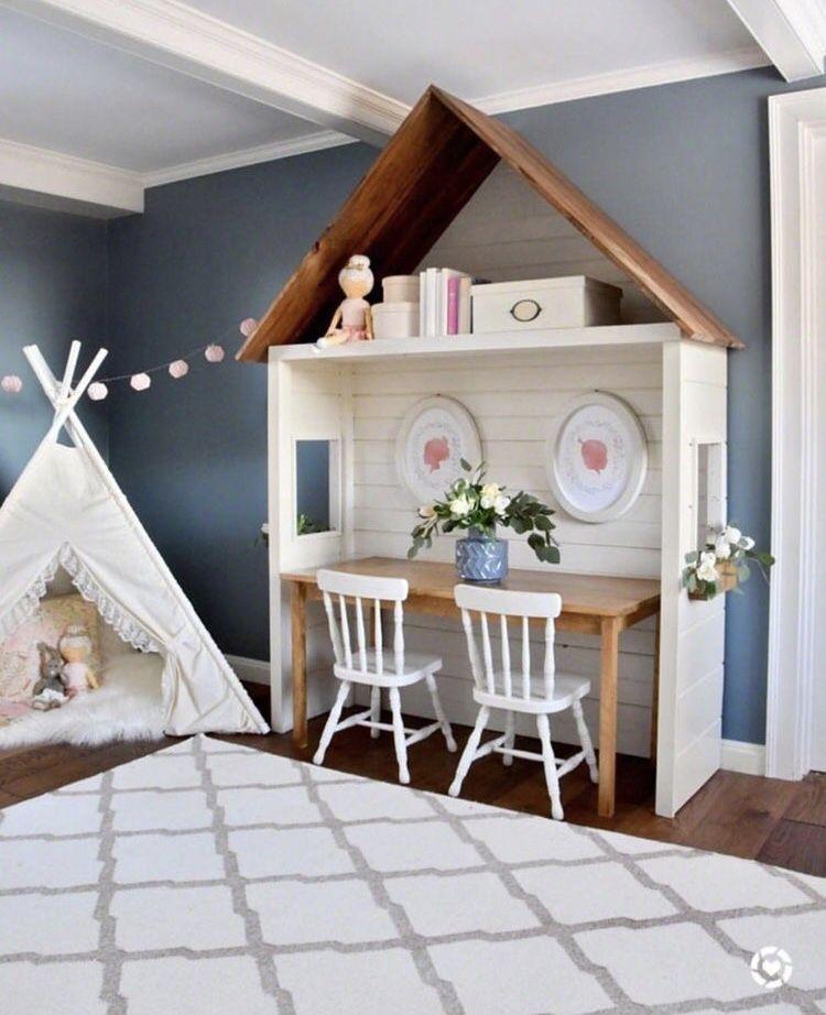 Teepee And House Shape Desk Girls Playroom Decor Inspiration
