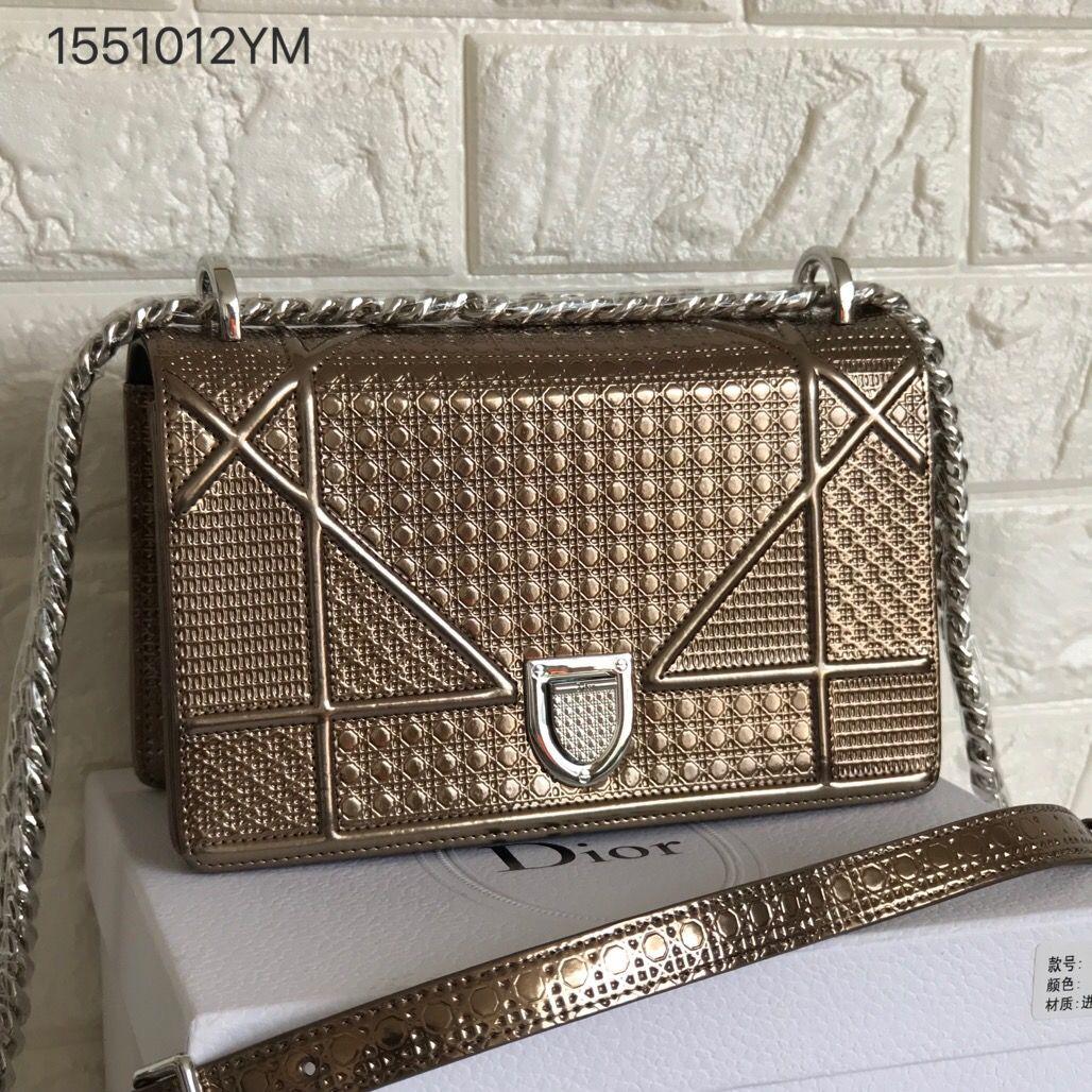 eec0c1ddf Christian Dior CD woman diorama bag metallic color bronze original leather  version size 21cm