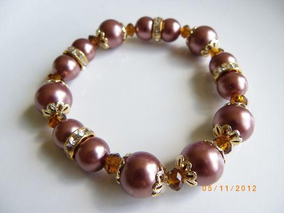 Handmade Brown reddish pearls crystal spacers stretch bracelet $10.00