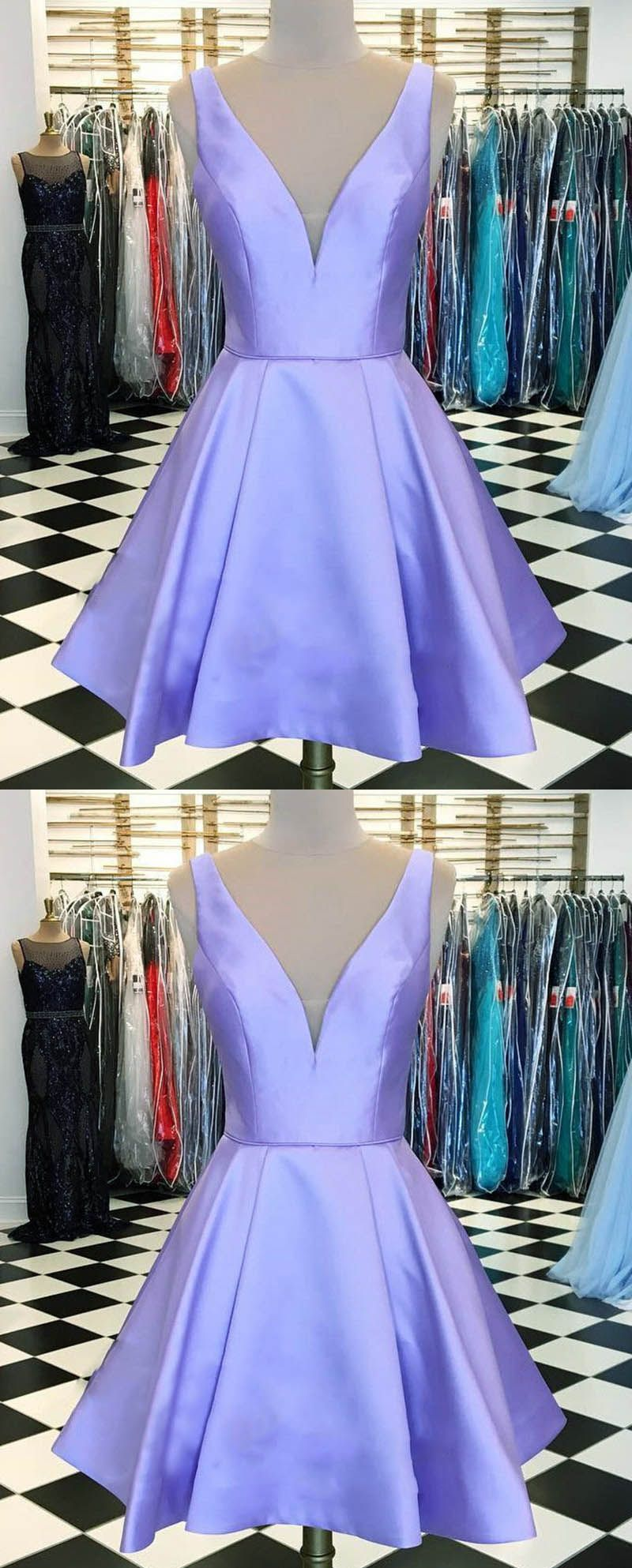 V neck lavender homecoming prom dresses short sp in prom