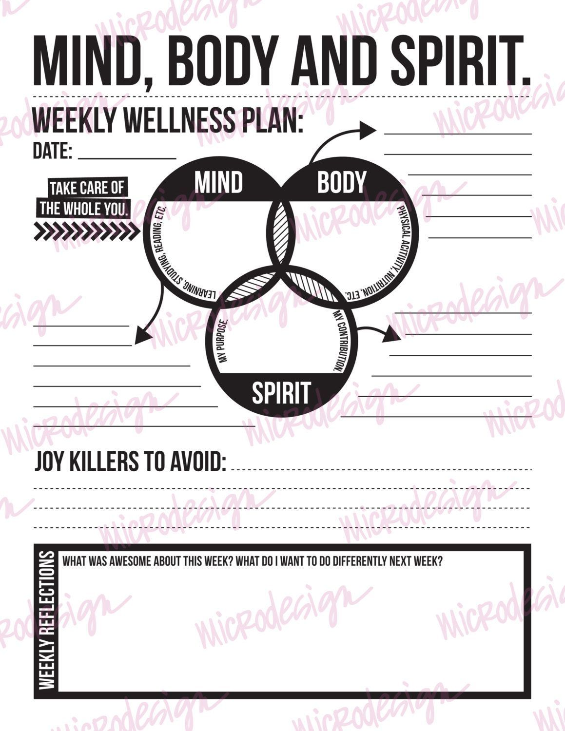 Mind Body Spirit Weekly Wellness Plan By Microdesign On