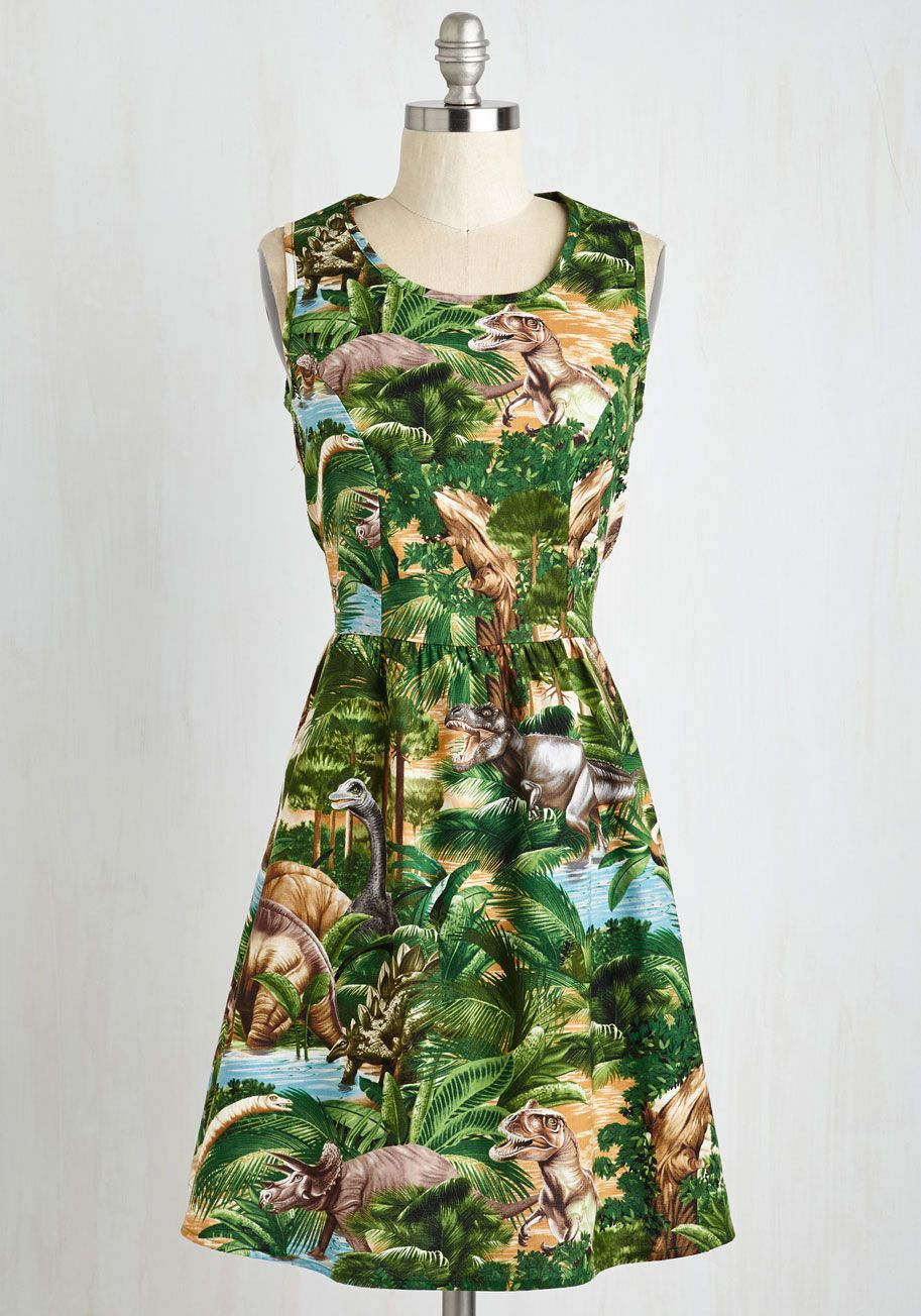 Land Before Sublime A-Line Dress in Dinos