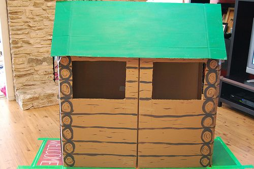 Make Your Own Log Cabin From A Cardboard Box Via