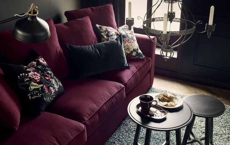 One Room Two Styles In 2019 Red Couches Ikea Sofa Furniture