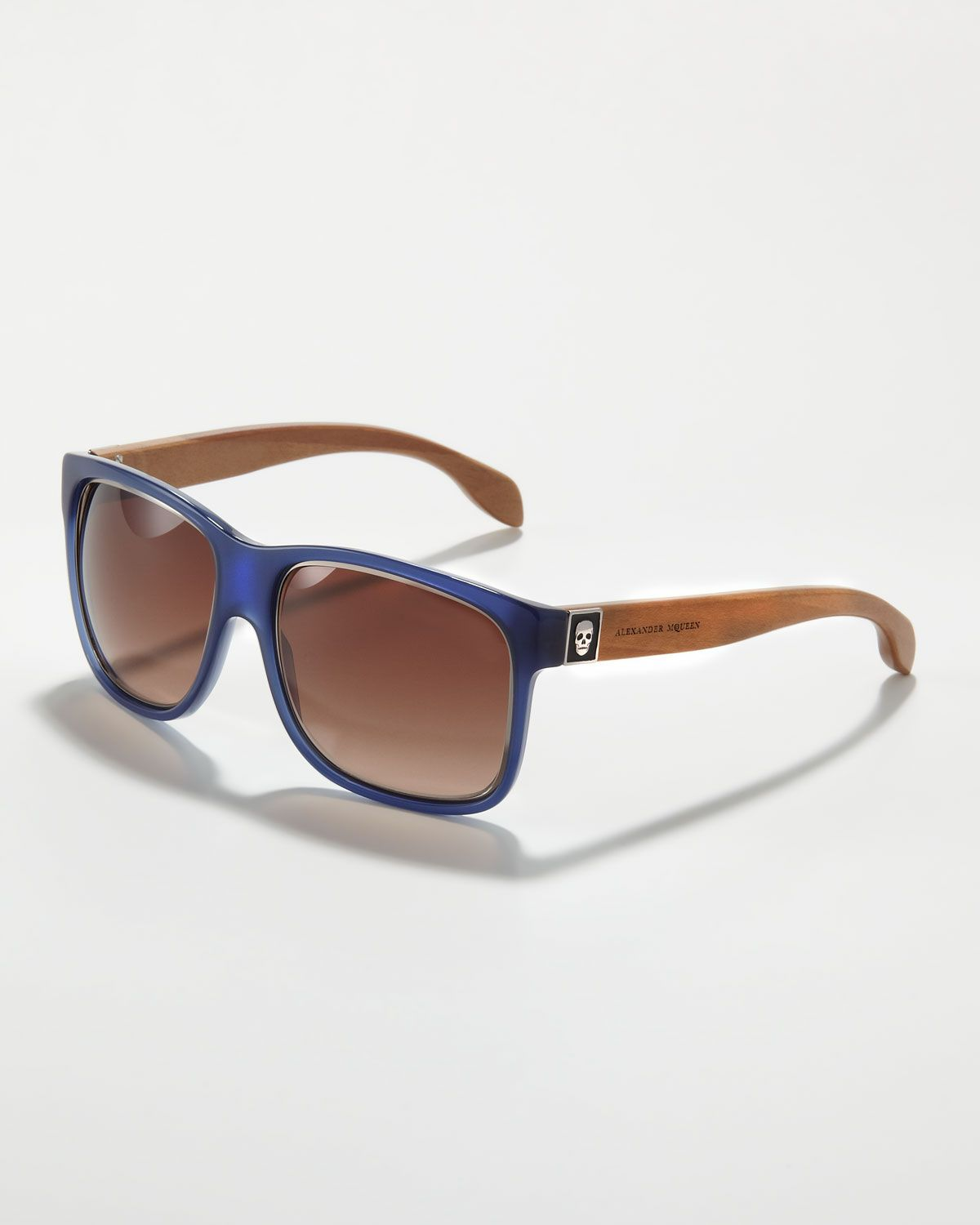 188ae8e89585  Love logo placement and engraving  Alexander McQueen Wooden-Arm Square  Sunglasses