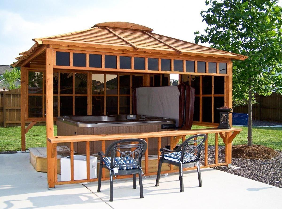 Hot tub pavilions forever redwood smaller bar no hot for Hot tub shelter plans
