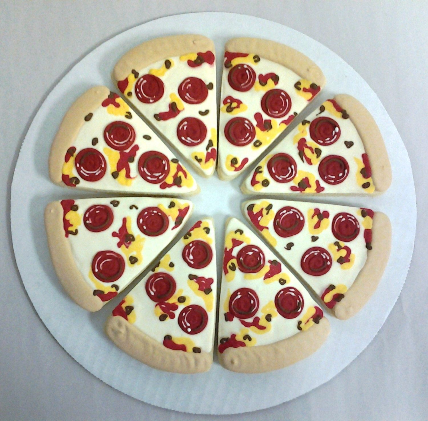 Pizza, Sweet Pizza - Birthday Party or Any Reason Cookies by ClawsonCookies on Etsy https://www.etsy.com/listing/120563013/pizza-sweet-pizza-birthday-party-or-any
