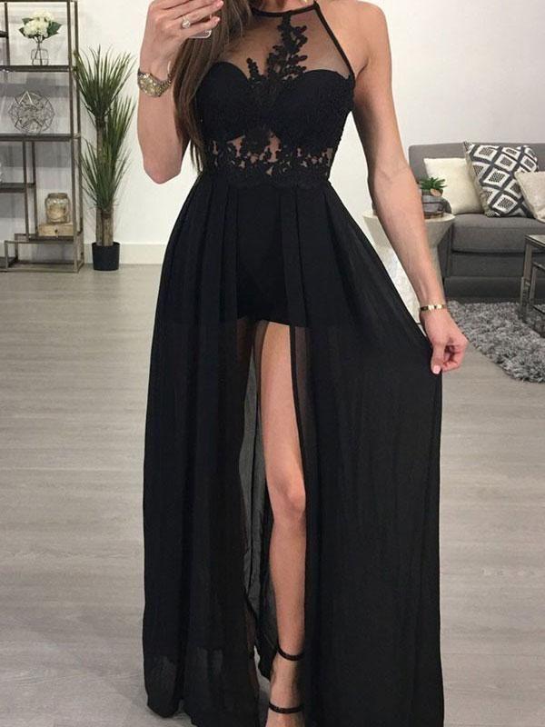 2596dfb769 Black Prom Dresses With Slit