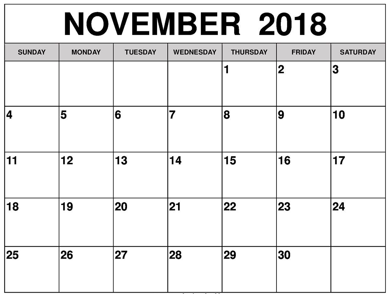 November 2018 Calendar Printable Blank Template Pdf Word