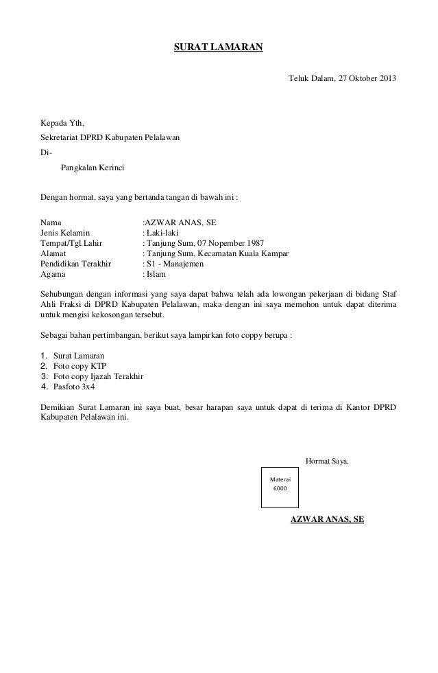 Contoh Surat Lamaran Kerja Ahli Fraksi Dprd Surat Pendidikan Cv Kreatif