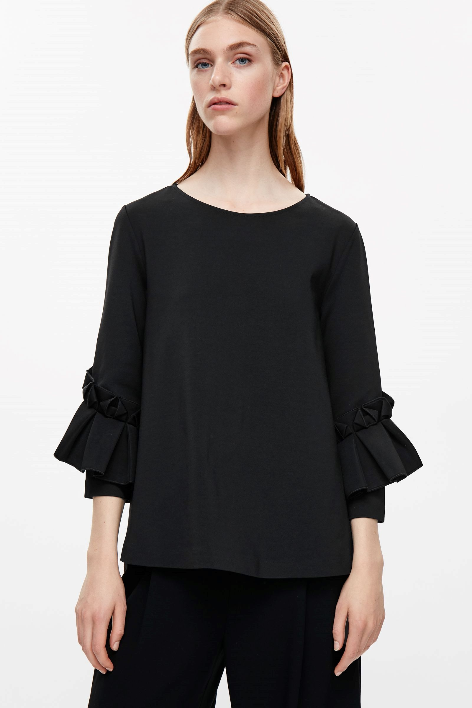 COS image 2 of Top with frill detailed sleeves in Black