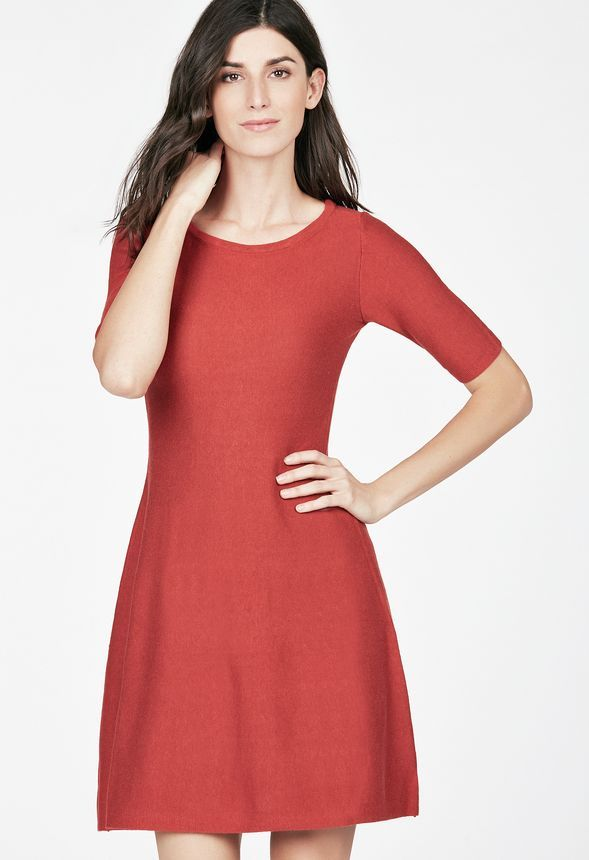 7b3606f86047 Fit And Flare Sweater Dress in Brick Red - Get great deals at JustFab