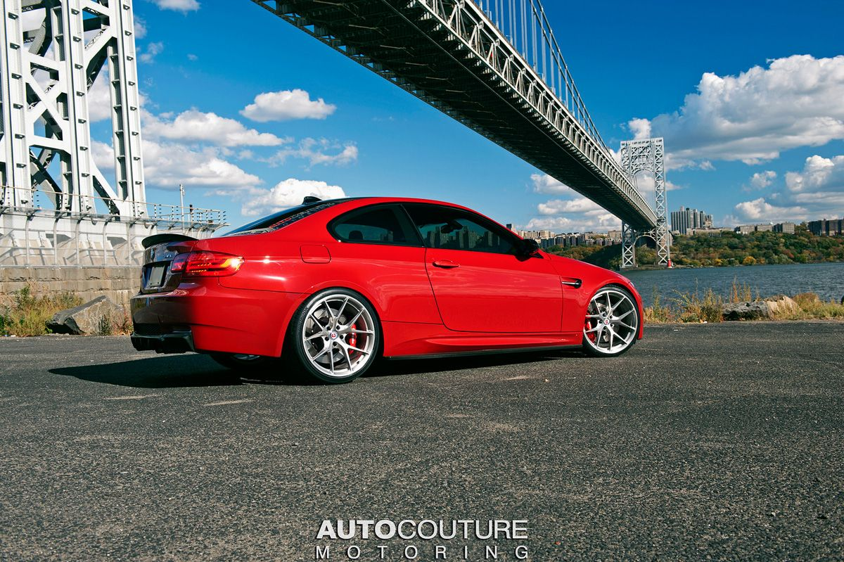 A Red Bmw E92 M3 With Hre Wheels Installed With Images Bmw