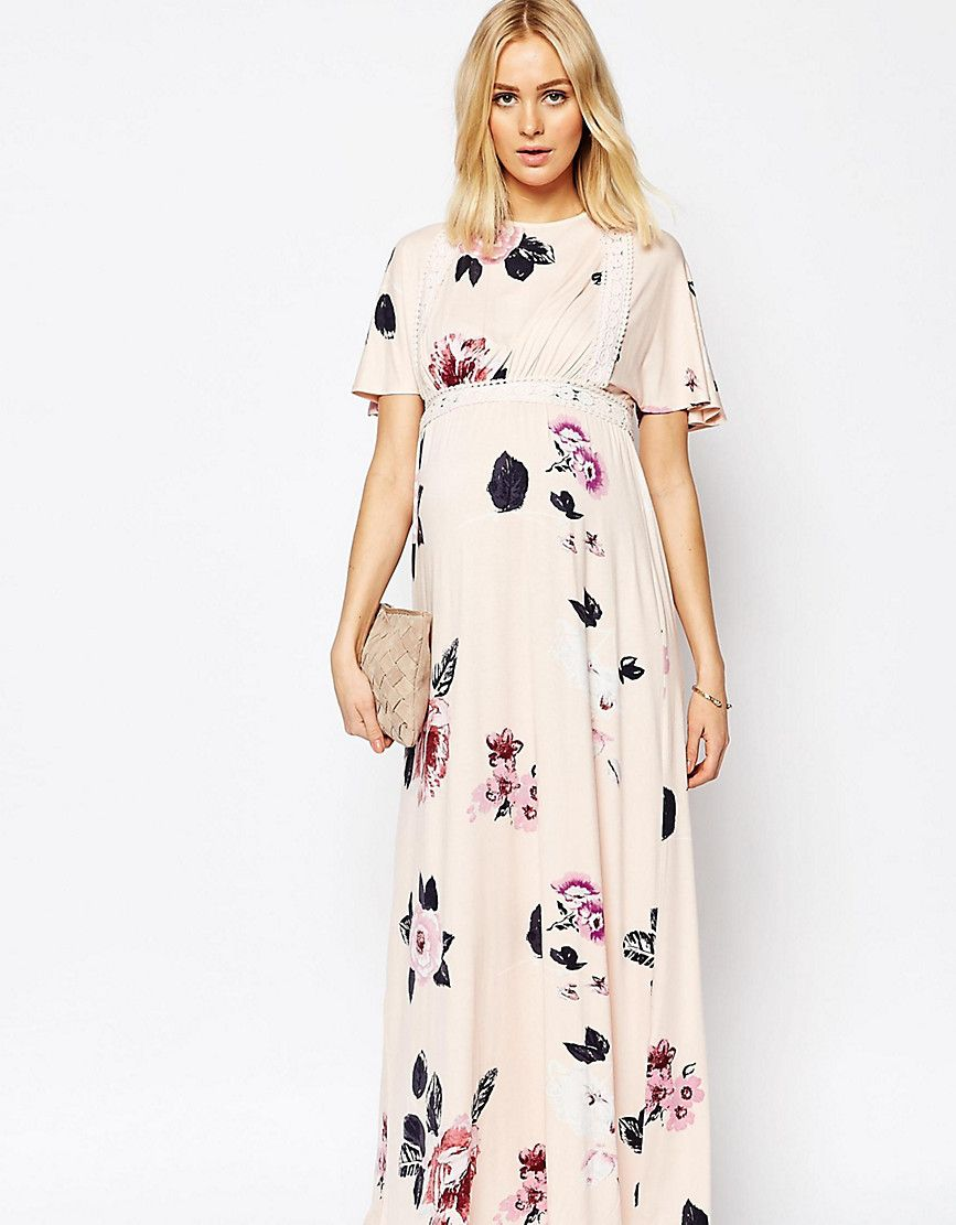 869503dec02dd ASOS Maternity Angel Sleeve Maxi With Lace Inserts in Spaced Floral ...