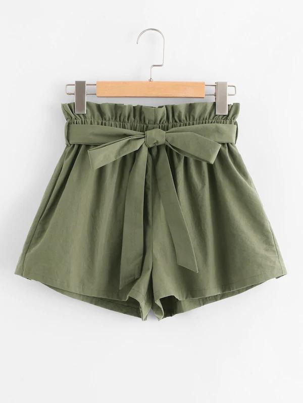 Short Paperbag taille ceinture à volants | SHEIN,  #ceinture #Paperbag #SHEIN #Short #taille #vetementsmodeado #volants
