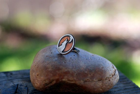 Lone Wolf. Sterling and copper Wolf Ring. Mixed Metal. by Arrok
