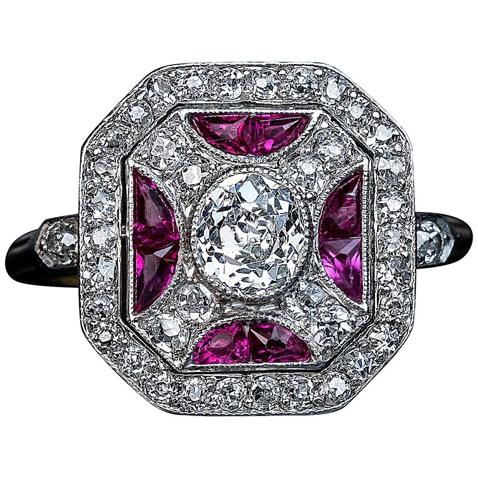 Russian Art Deco Ruby Diamond Platinum Ring | See more rare vintage Cluster Rings at http://www.1stdibs.com/jewelry/rings/cluster-rings
