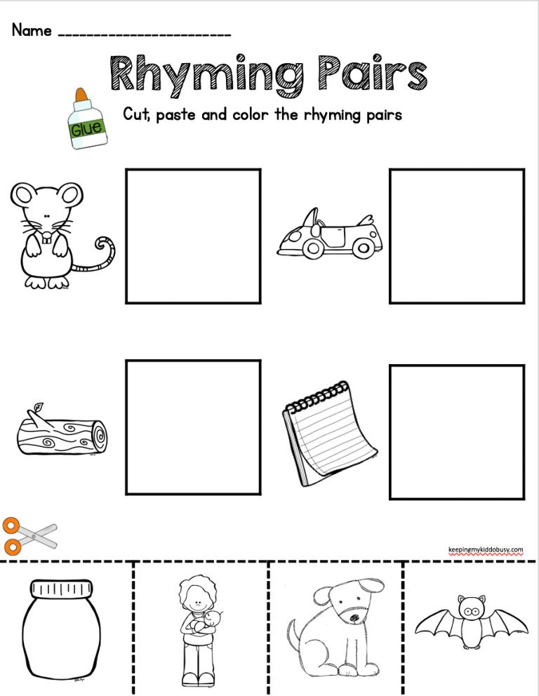 Kindergarten Rhyming words worksheets, Kindergarten
