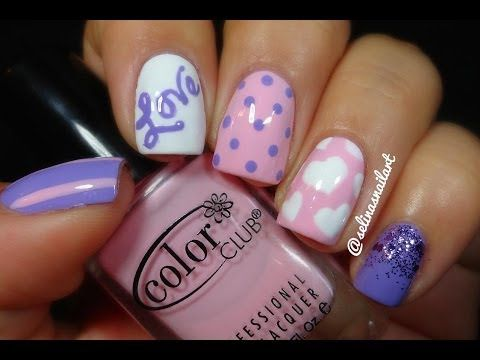 Pink Purple Valentines Nail Art The Heart Design Is So Cute