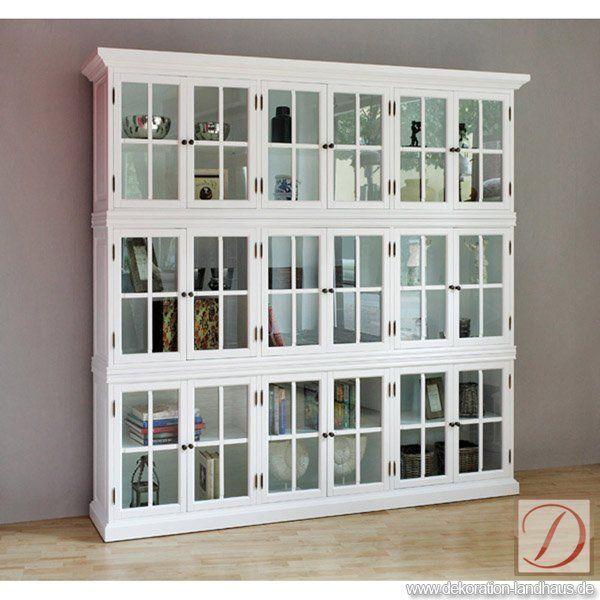 Schrank Bücher CLEVELAND Weiß Br240cm Massiv   Unser Schrank CLEVELAND  Bietet Ihnen Als Landhausmöbel Einen Ansprechenden Rahmen Für Ihre  Einrichtung.