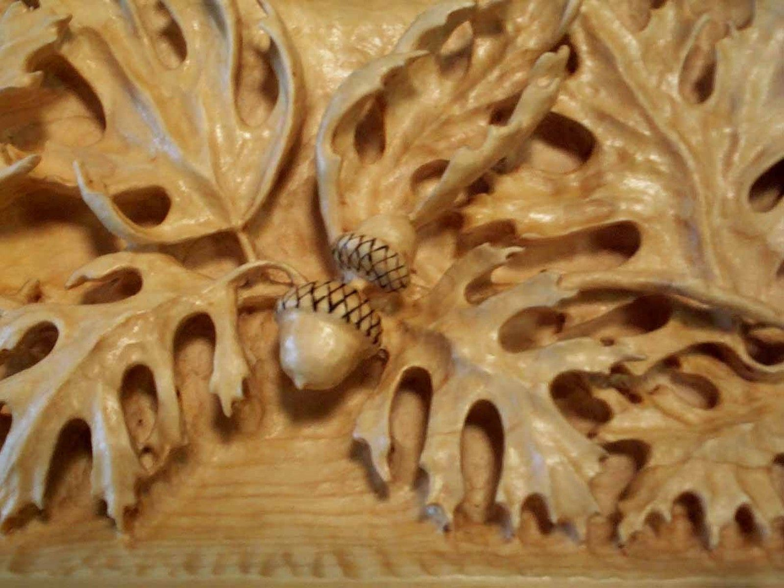 Wood carved oak leaves acorns carving pinterest