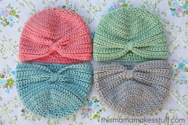 crochet baby turban pattern - Personally, my LO doesn't look good in hats, but looks adorable in headbands, so I would just do the bottom of this turban in very color imaginable! :)