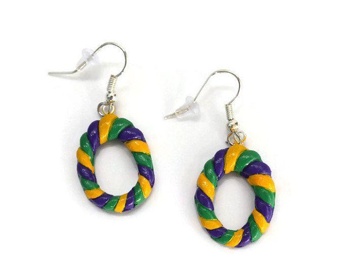 Mardi Gras Clay Stud Earrings Louisiana Mardi Gras Accessories Handmade Jewelry