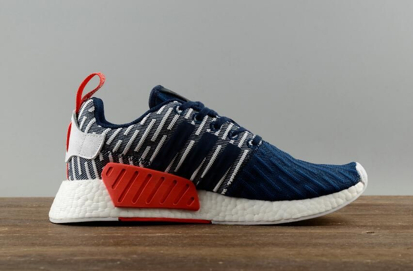 7b613eec62275 Adidas Originals NMD R2 PK Real Boost Dark Blue White Men Running Shoes4