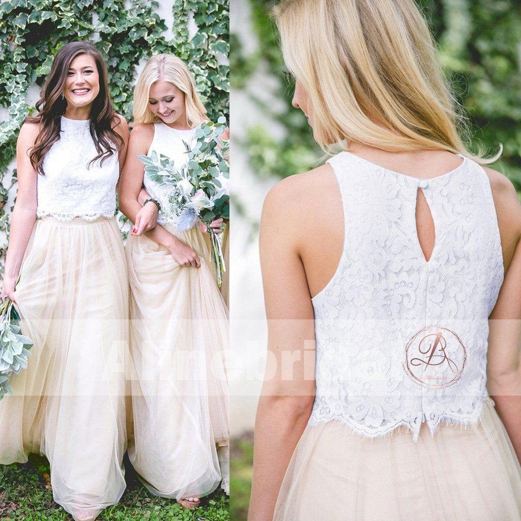 Two piece ivory lace top tulle bottom country wedding bridesmaid