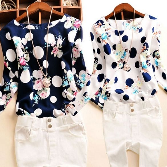 New Lady Women's Polka Dot Floral Printed O-Neck Long Sleeve Roll-up Cuffs Tops Blouses