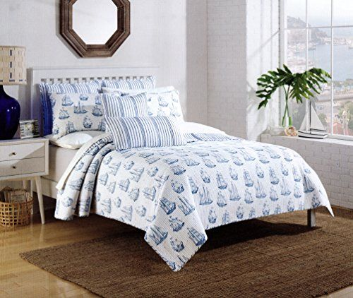 Max Studio Nautical Sailboat Design Bedspread 3pc Full/Queen Quilt Set  Coverlet Cotton Reversible Quilted