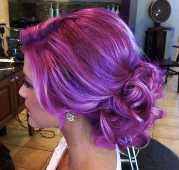 Purple hair with white highlights