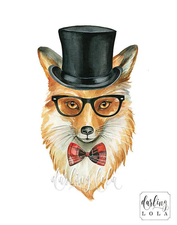 Fox Watercolor Print - Fox with Glasses - Circus - Fox Portrait - Cat Art - Animal Painting - Nursery Art