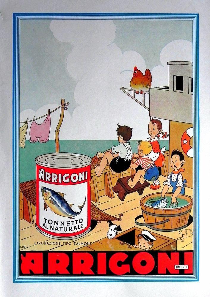 Pubblicità originale anni 30 grande formato ARRIGONI Tonno al naturale Pesca e393e7650048