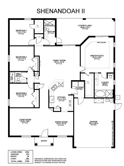 The 4 Bedroom Shenandoah II Plan Offers Formal Dining And Living Rooms Open Kitchen