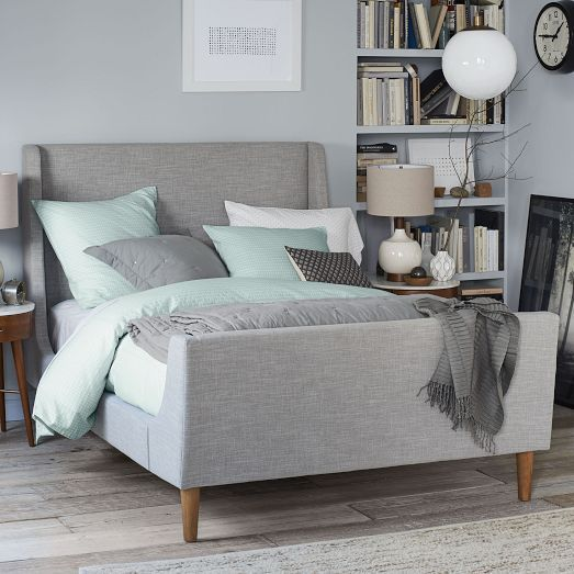 50 Sleigh Bed Inspirations For A Cozy Modern Bedroom: Upholstered Sleigh Bed, Full, Heathered Crosshatch