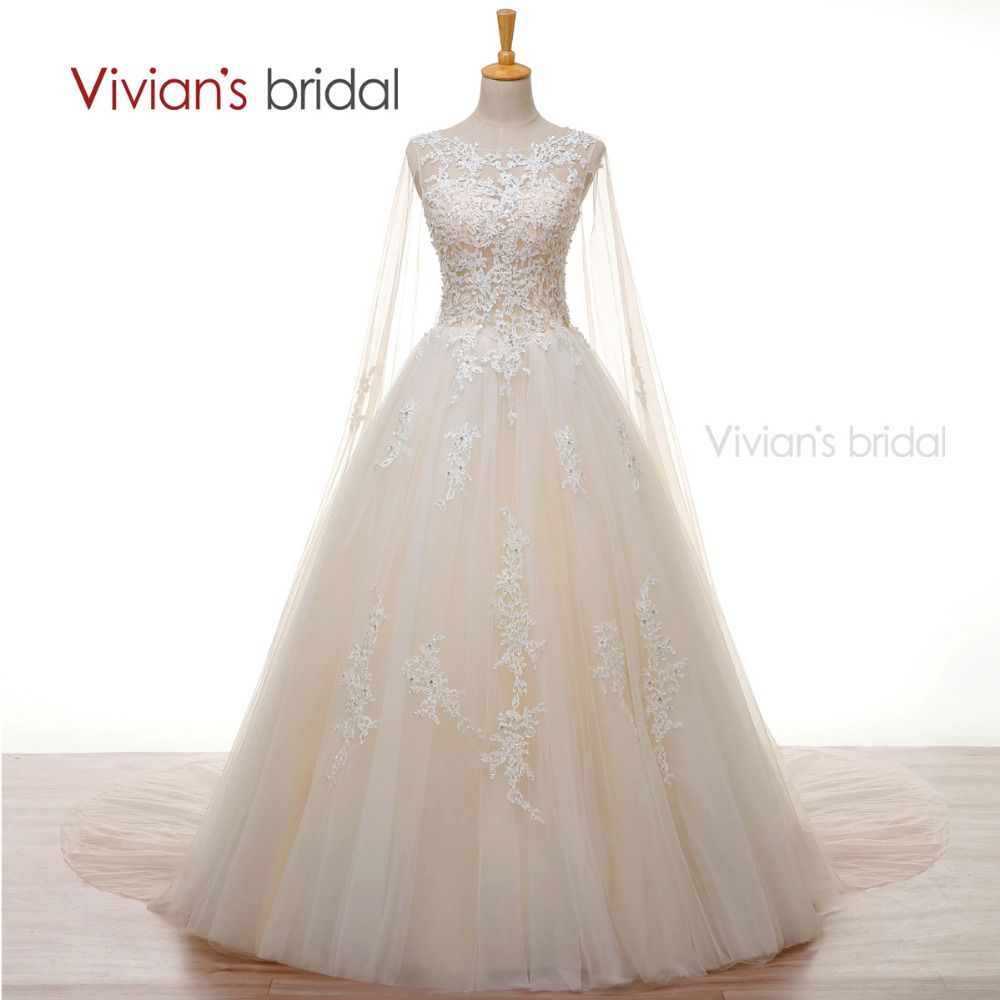 Vivianus Bridal Crystal Pearls White Lace Champagne Wedding Dress