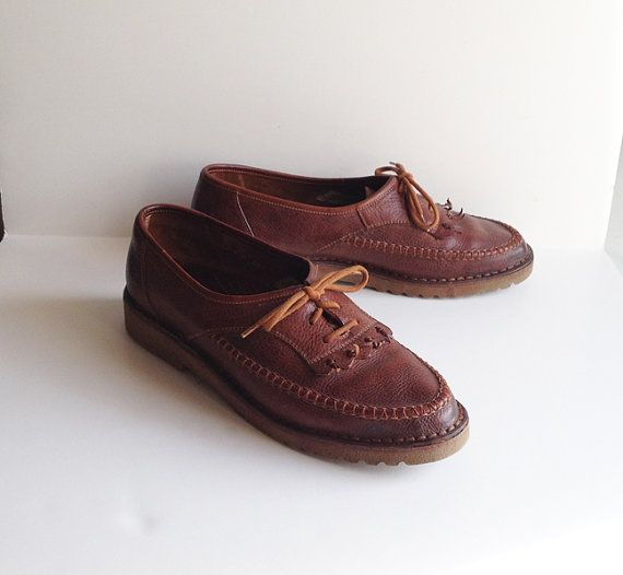 Vintage Brown Leather Loafers Shoes by littlebearandbunny on